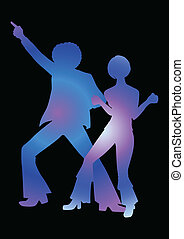 Disco Dancing - Silhouette Illustration of couples dancing...