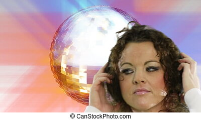 Disco Dancing - Woman disco dancing with Disco ball in...