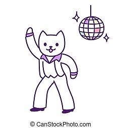 disco, danseur, chat