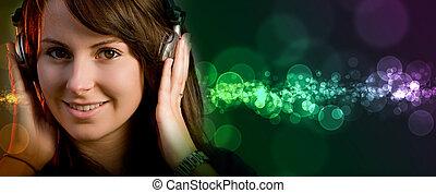 Disco deejay girl - Young girl having fun at a disco or...