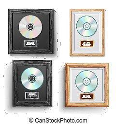 disco del cd, premio, conjunto, vector., moderno, ceremony., mejor, seller., musical, trophy., realista, marco, álbum, disco, ladrillo, wall., ilustración