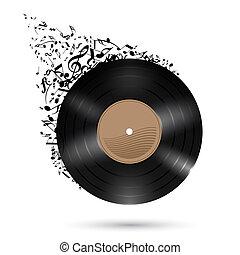 disco del vinilo, con, música, notas.