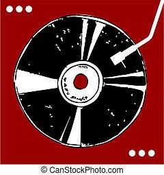 disco del vinilo, en, rojo, fondo.
