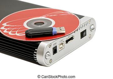 disco, destello, memoria de computadora, disco duro