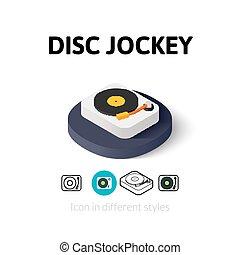 disco, diferente, jinete, estilo, icono