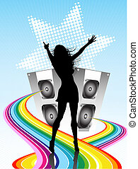 Disco diva - Silhouette of a female on a music related...