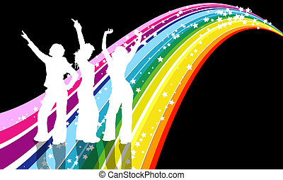 Disco divas - 3 females dancing on retro background