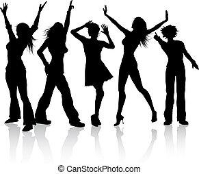 Disco divas - Silhouettes of females dancing