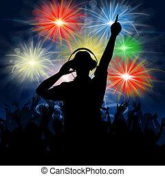 Disco Dj Represents Fireworks Display And Celebrating - Dj...