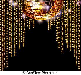disco, dorado, pelota, resplandor, cortinas