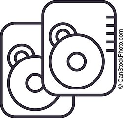disco duro, vector, línea, icono, señal, ilustración, fondo, editable, golpes