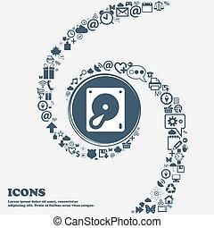 disco duro, y, base de datos, icono, señal, en, el, center., alrededor, el, muchos, hermoso, símbolos, torcido, en, un, spiral., usted, lata, uso, cada, separately, para, su, design., vector