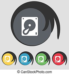 disco duro, y, base de datos, icono, signo., símbolo, en, cinco, coloreado, buttons., vector