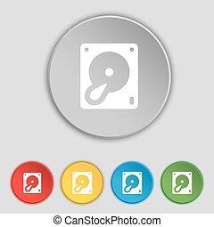 disco duro, y, base de datos, icono, signo., símbolo, en, cinco, plano, buttons., vector
