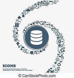 disco duro, y, base de datos, señal, icon., destello, unidad, palo, símbolo, en, el, center., alrededor, el, muchos, hermoso, símbolos, torcido, en, un, spiral., usted, lata, uso, cada, separately, para, su, design., vector