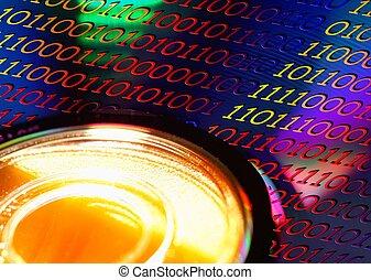 disco, dvd, código, binaire