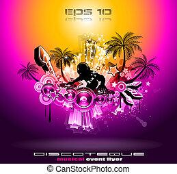 disco, exotique, aviateur, musique, fête, coucher soleil