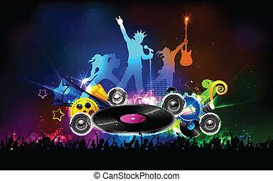 disco, fête, jockey, nuit