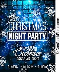 disco, fête, vecteur, affiche, nuit