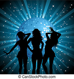 Disco females - Silhouettes of sexy females on mirror ball...