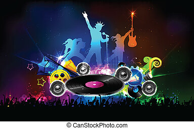 disco, fiesta, jinete, noche