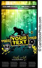 disco, gebeurtenis, poster, met, een, schijf jockey