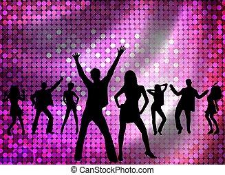 disco, gente, -, joven, bailando