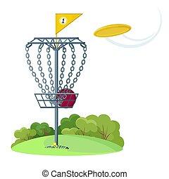 disco, giallo, volare, golf, cesto, disco, frisbee