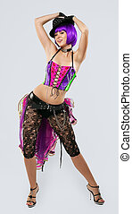 Disco Girl dance in color corset - Blond disco girl dance in...
