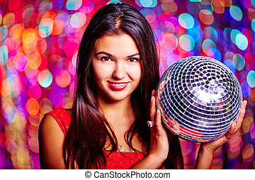 Disco girl - Portrait of pretty girl with disco ball