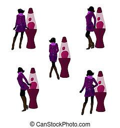 Disco Girl Silhouette Illustration - Disco girl standing by...