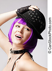 Disco girl with purple hair, hat and collar
