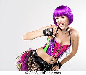 Disco girl with purple hairs