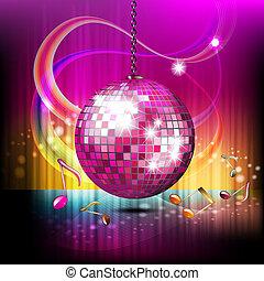 Disco globe - Musical notes with disco globe