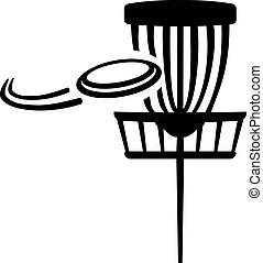 disco, golf, cesta, con, vuelo, disco volador