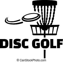 disco, golf, con, cesta, y, disco volador