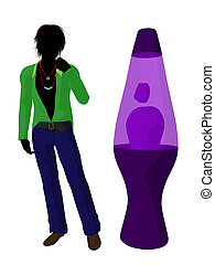 Disco Guy Silhouette Illustration - Disco guy standing by a...