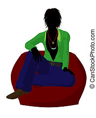 Disco Guyl Silhouette Illustration - Disco guy sitting on a...