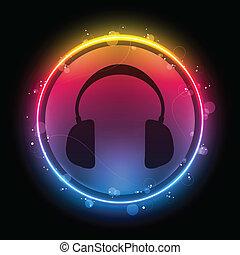 disco, headphones, met, neon, regenboog, cirkel