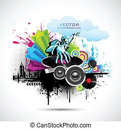 Disco Jockey - illustration of disco jockey playing music on...