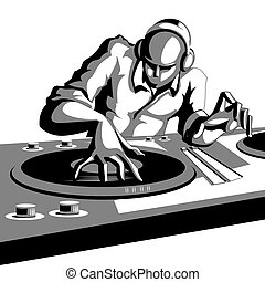 Disco Jockey - illustration of disco jockey playing music in...