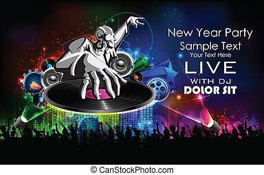 Disco Jockey playing music on New Year Party - illustration...