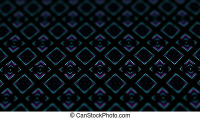 disco kaleidoscopes background with animated glowing neon colorful lines and geometric shapes for music videos, VJ, DJ, stage, LED screens, show, events. seamless loop. rhombus