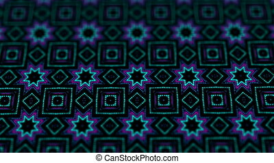 disco kaleidoscopes background with animated glowing neon colorful lines and geometric shapes for music videos, VJ, DJ, stage, LED screens, show, events. seamless loop.