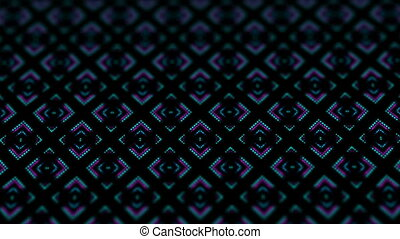 disco kaleidoscopes background with animated glowing neon colorful lines and geometric shapes for music videos, VJ, DJ, stage, LED screens, show, events.seamless loop.constellation