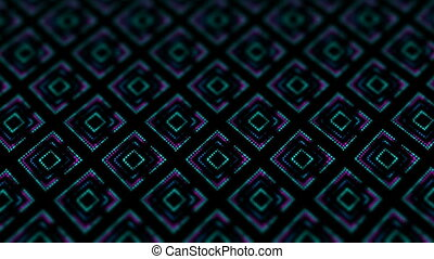 disco kaleidoscopes background with animated glowing neon colorful lines and geometric shapes for music videos, VJ, DJ, stage, LED screens, show, events.seamless loop.scales