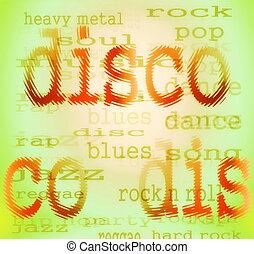 disco, kleurrijke, woord, abstract