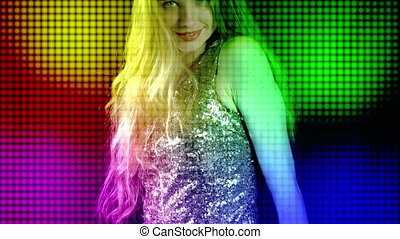Disco lights and led light stage screen with dancing woman...