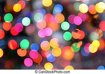 Colored circular lights blur.