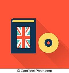 disco, livro, aprendizagem, língua, inglês